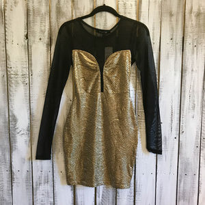 Forever 21 Sexy sheer dress Gold Black Size SM NWT